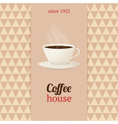 Coffee house menu with cup of hot drink vector
