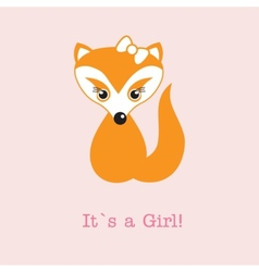Baby girl fox arrival announcement birth card vector