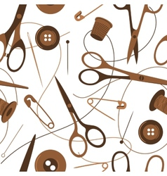 Seamless background pattern of sewing accessories vector