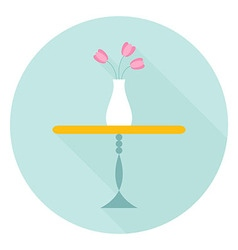 Table with Flower Vase Flat Circle Icon with vector image