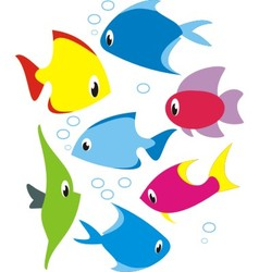 Set of reef fish vector