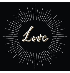 Retro sunburst with love lettering vector