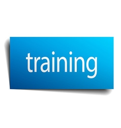 Training blue paper sign isolated on white vector