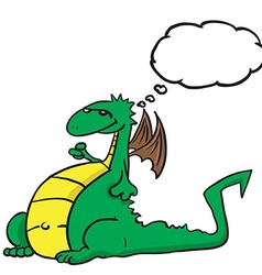 Dragon with thought bubble vector