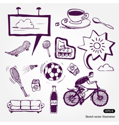Rest and vacation icons set vector