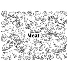 Meat colorless set vector