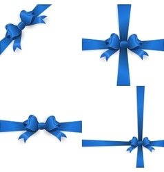 Blue ribbon with bow on a white background EPS 10 vector image vector image