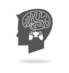 Boy head with brain made from game stick cable vector