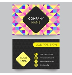 Business card template abstract colorful geometric vector