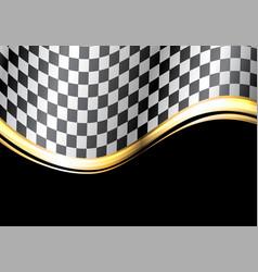 checkered flag gold line wave black sport race vector image