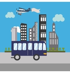 city bus and buildings icon vector image