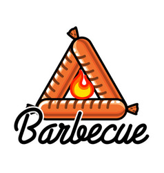 Color vintage barbecue emblem vector