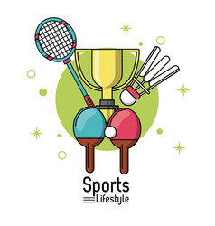 colorful poster of sports lifestyle with rackets vector image vector image