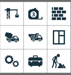 Construction icons set collection of cement vector