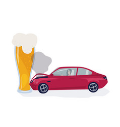 drunk driver concept car crached into beer glass vector image vector image