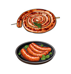 Freshly grilled barbequed sausages long and short vector