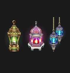 Gold and silver ramadan lantern isolated on dark vector