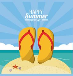 Happy summer holidays poster flip flops beach vector