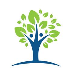 human character with green tree logo vector image