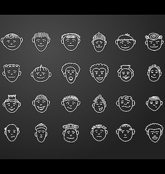 icon set 24 face man vector image vector image