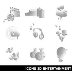 Icon Set entertainment 3D vector image