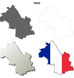 Isere rhone-alpes outline map set vector