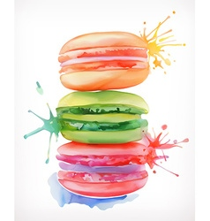 Macarons watercolor painting isolated on a white vector