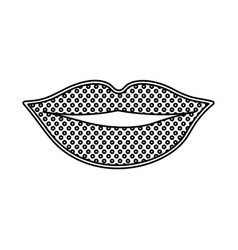 Monochrome silhouette with dotted lips vector