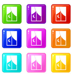 Nightly window icons 9 set vector