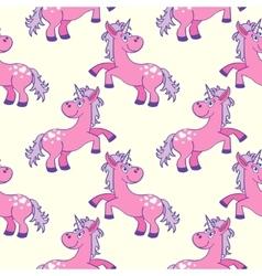 Pastel colored hand drawn unicorns seamless vector image