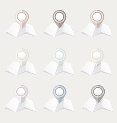 Pastel location map pointer icon collection vector
