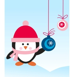 penguin with hat vector image