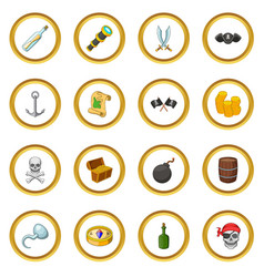 Pirate culture symbols icons circle vector