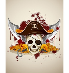 Pirate theme with skull and sword vector