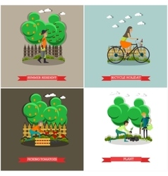 set of gardening concept posters banners vector image