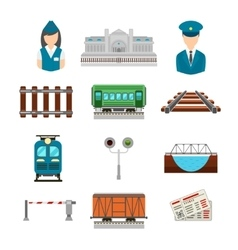 set of railroad icons in flat style vector image