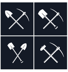 Set of tools for excavation and percussion works vector