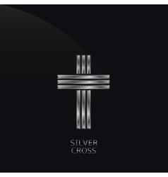 Silver cross vector image vector image