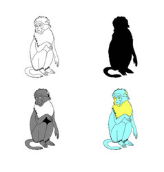 sitting monkey line vector image