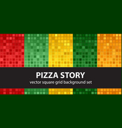 Square pattern set pizza story seamless tile vector
