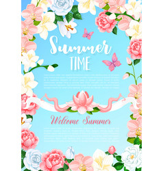 Summer time flowers greeting poster vector