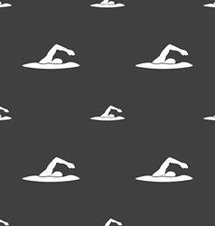 swimmer icon sign Seamless pattern on a gray vector image