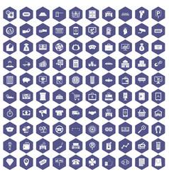 100 coin icons hexagon purple vector