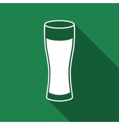 Glass of beer flat icon with long shadow vector