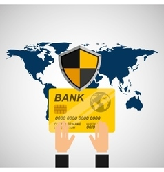Credit card banking safe shield protection vector