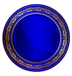 Blue oriental tray vector