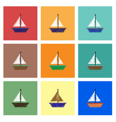 Collection of icons and boat and sail vector