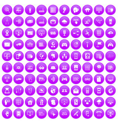 100 network icons set purple vector image
