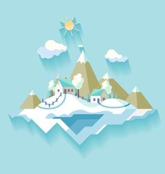 Winter Village landscape vector image