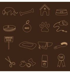 Dog theme simple outline icons set eps10 vector